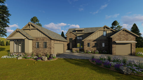 1.5 story modern mountain house plan