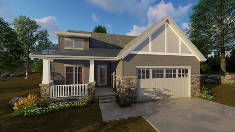Cottage style one story house plan front