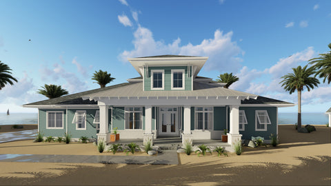 Coastal Cottage One and a Half Story House Plan Front