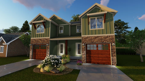craftsman 2 story multi family house plan front