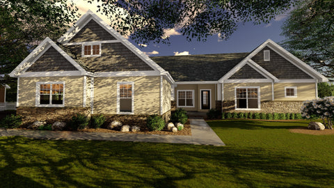 traditional one story house plan front