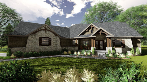 craftsman style one story house plan front