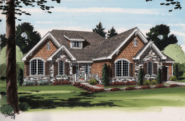 Alexander one story traditional house plan - Traditional one storied house plans ...