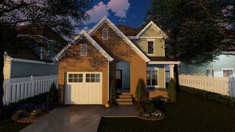 2 story narrow house plan 3d front elevation
