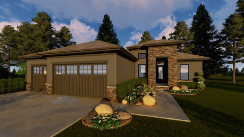 1 story house plan front elevation 3d
