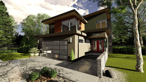 modern 2 story house plan front 3d elevation