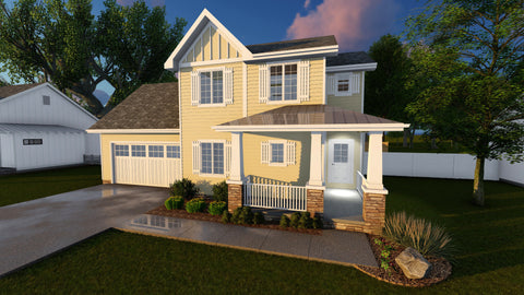 traditional 2 story house plan front