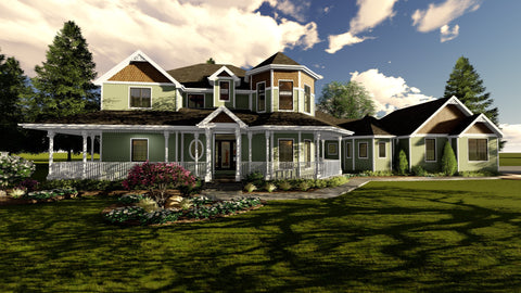1.5 story Victorian house plan front 3d elevation
