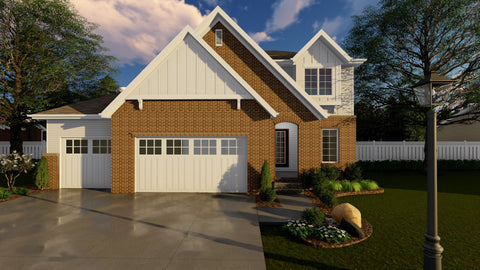 2 story traditional house plan front elevation 3d