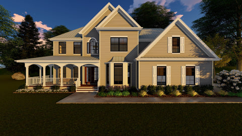 farmhouse 2 story house plan 3d front
