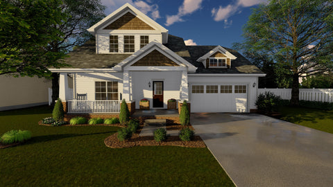 Traditional 2 story house plan front 3d elevation