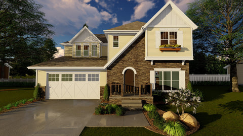 2 story home plan front 3D elevation