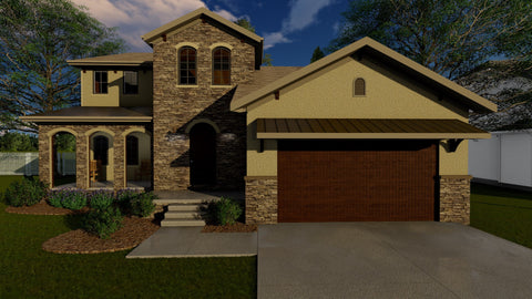1.5 story house plan front 3d elevation