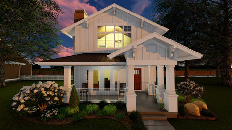 Narrow 2 story house plan front 3d elevation