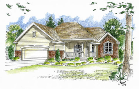 traditional 1 story house plan front