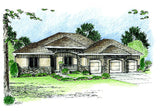 Mediterranean 1 story house plan front photo