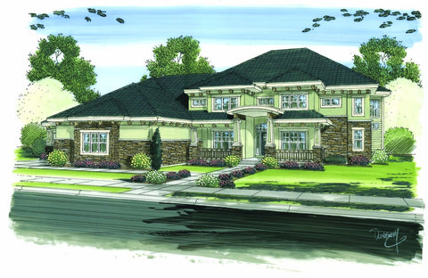 1.5 story craftsman style house plan front