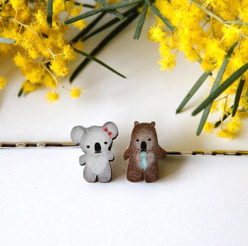 Cute Australia koala & wombat friends hair slides
