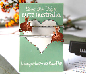 Cute Australia wallaby hair slides