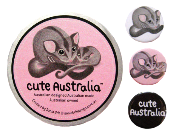Cute Australia sugar glider badge set