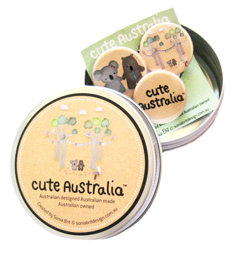 Cute Australia koala & wombat friends badge set