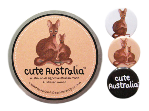 Cute Australia wallaby badge set