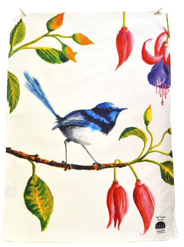 BOB HUB tea towel - Blue Wren
