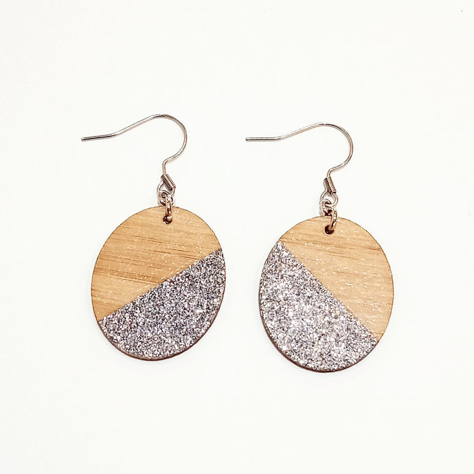 Silver glitter earrings
