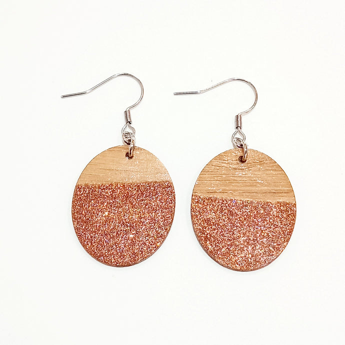 Bronze glitter earrings