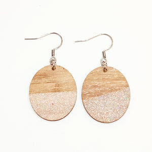 Pale pink glitter earrings