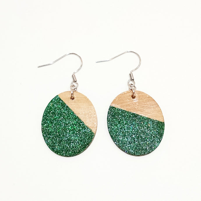 Green glitter earrings