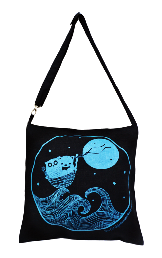Sonia Brit shoulder bag Owl and the Pussy cat (black)