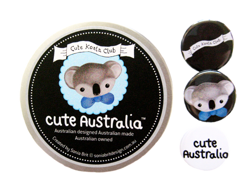 Cute Australia koala club badge set