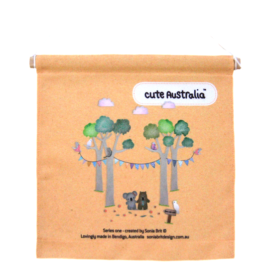 Cute Australia koala & wombat friends wall hanging