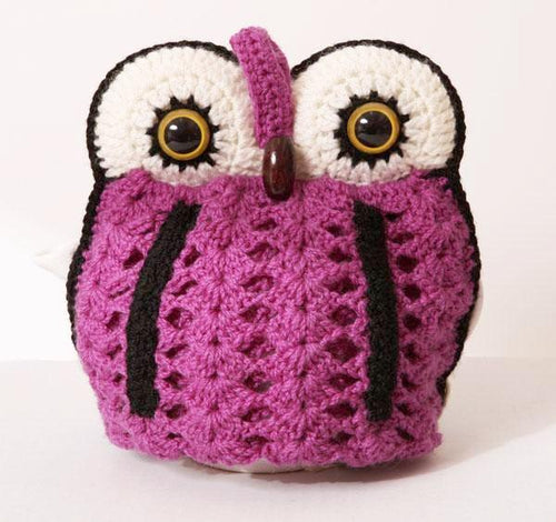 OWL tea cosy 4 pot - purple