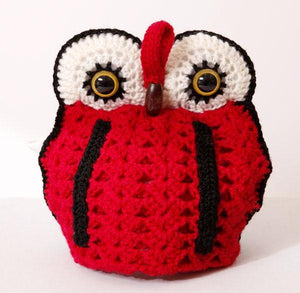 OWL tea cosy 4 cup pot - red