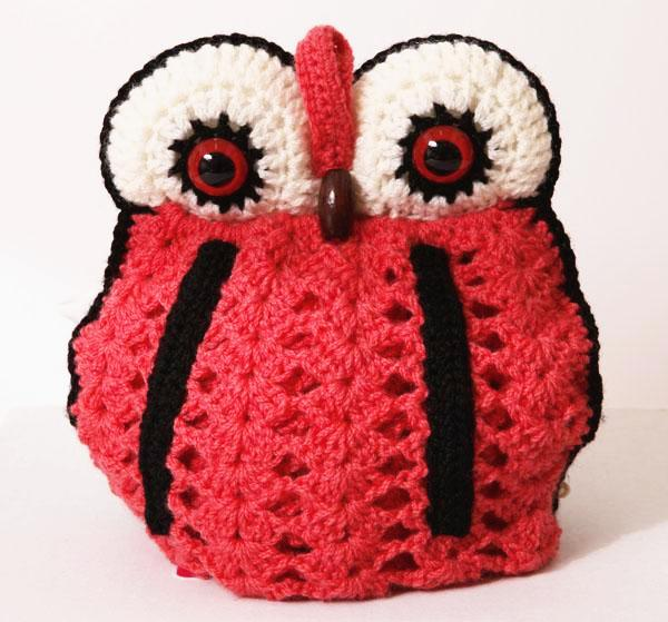 OWL tea cosy 4 pot - fresh colour salmon
