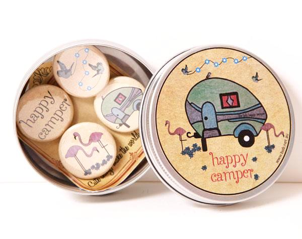Badge set tin - happy camper