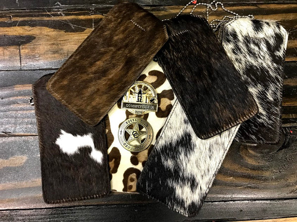 Rodeo Badge Holder - Cowhide