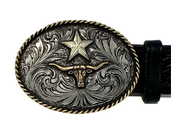 Texas Star & Longhorn Buckle