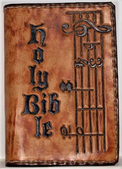 Custom Hand-Tooled Bible Cover (w/ Bible Included)