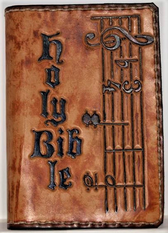 Hand-Tooled Bible Cover by Master Leathersmith Bill Land x004
