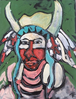 """Crow Indian"" 16 by 20 inches - Tom Russell"