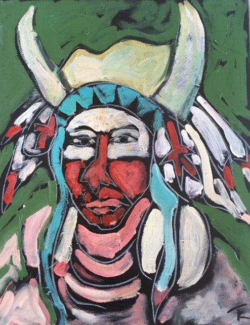 """Crow Indian"" 16 x 20 Zoll - Tom Russell"