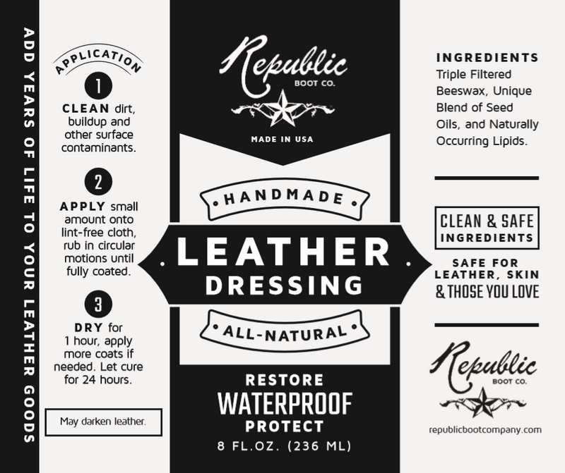 Republic Boot Co - Ultra Premium Leather Dressing - Handmade
