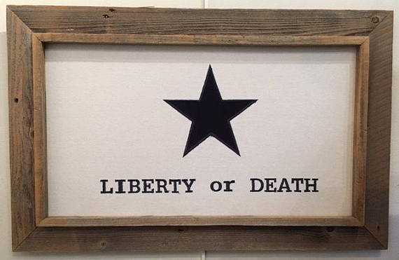 Liberty or Death Flag with Barnwood Frame
