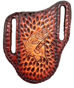 Trout! - Hand-tooled Pocket Knife Sheath