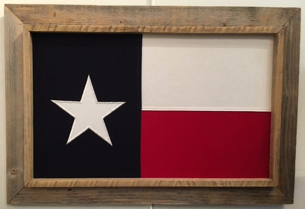 Antiqued Cotton Texas Flag with Barnwood Frame