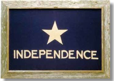"Texas Independence Flag with Barnwood Frame Large - 20""x28"" or Extra Large - 28""x40"""