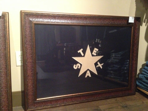 "1st Flag of the Texas Republic (DeZavala Flag) - Framed Large Cloth Stitched Flag - 43"" x 31"""